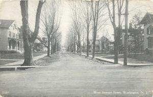 Washington New Jersey~West Stewart Street Homes~Dirt Road~1912 B&W Postcard