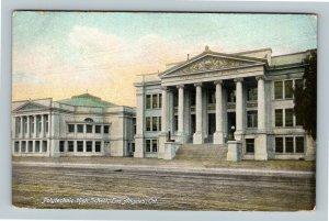 Los Angeles CA, Polytechnic High School, Vintage California c1909 Postcard