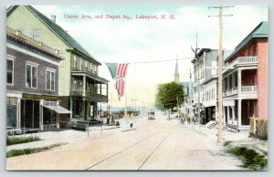 Lakeport Laconia NH~Sherman-Vernon? Flag~RR Depot~Trolley~Hotel? Balcony~c1910