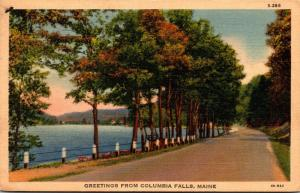Maine Greetings From Columbia Falls 1941 Curteich