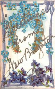 New Brighton Pennsylvania Flower Horseshoe Greeting Antique Postcard K93757