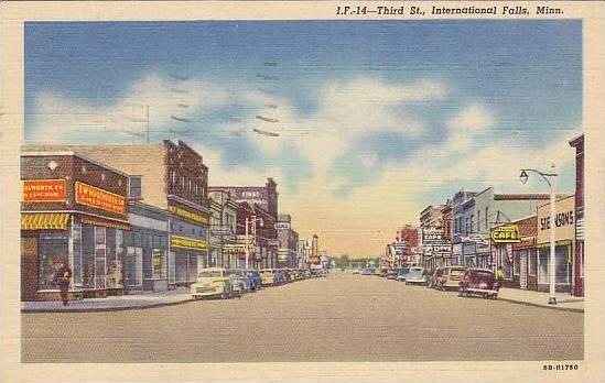 Third Street, F.W. Woolworth Co., First National Bank, Cafe Store, Etc., Inte...