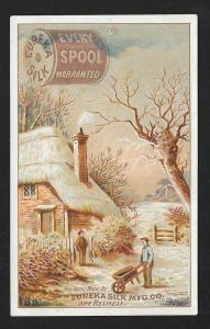VICTORIAN TRADE CARD Eureka Silk Thread Country Scene