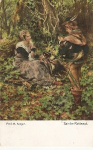 Prof. H. Seeger. Couple.In woods Fine painting vintage German postcard