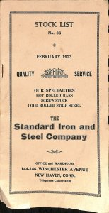 Standard Iron Steel Co Stock List Sales Brochure Catalog 1923 New Haven CT CPG4