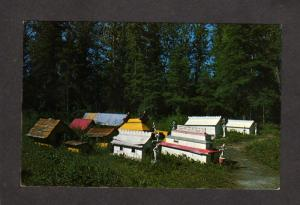 AK Indian Burial Grounds Cemetery Eklutna Village near Anchorage Alaska Postcard