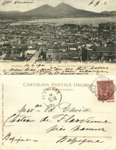 italy, NAPOLI, Panorama dal Corso Vittorio Emanuele, Vesuvius Volcano (1900)