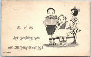 Vintage T.P. & Co. Postcard All Of Us Are Sending You our Birthday Greetings