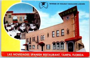 Tampa Florida Postcard LAS NOVEDADES Spanish Restaurant Broadway & 15th St 1950s
