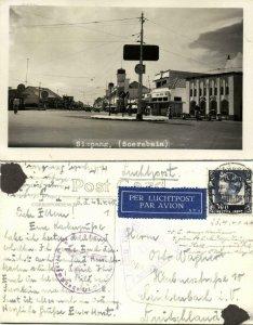 indonesia, JAVA SOERABAIA, Simpang Hotel 1940 RPPC WWII Cancel Singapore Censor