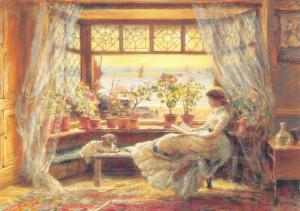 Postcard Art, Reading by the Window, Hastings by Charles James Lewis (1830) #596
