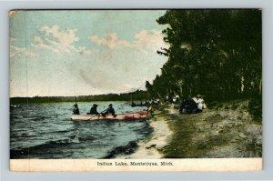 Manistique MI-Michigan, Indian Lake, Rowboats, Beach, People, Vintage Postcard
