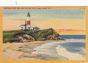 P1711 vintage unused montauk pt.& lighthouse tip of LI ny