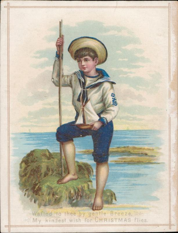 collectible sailor boy costume christmas greeting vintage old chromo litho