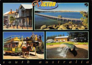 Australia Victor Harbor multiviews Crown Hotel Horse drawn trams Fountain