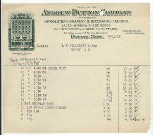 1916 Billhead, ANDREW DUTTON COMPANY, Upholstery, Boston, Massachusetts