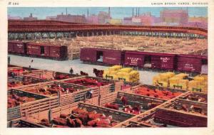 Chicago Illinois~Union Stock Yards~Cattle Pens~Horse Pulling Hay Cart~1941 Linen