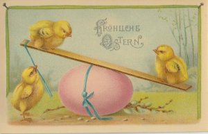 EASTER chicks , 1900-10s ; Playing w/Pink Egg SEE-SAW