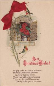 CHRISTMAS; Best Christmas Wishes, Poinsettia in the window, Red ribbon bow,...