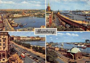 Hamburg, Strasse Auto Vintage Cars Promenade Harbour Boats Schiff Hafen