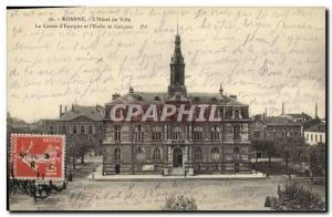 Old Postcard Bank Caisse d & # & # 39Epargne and 39Ecole des Garcons Roanne