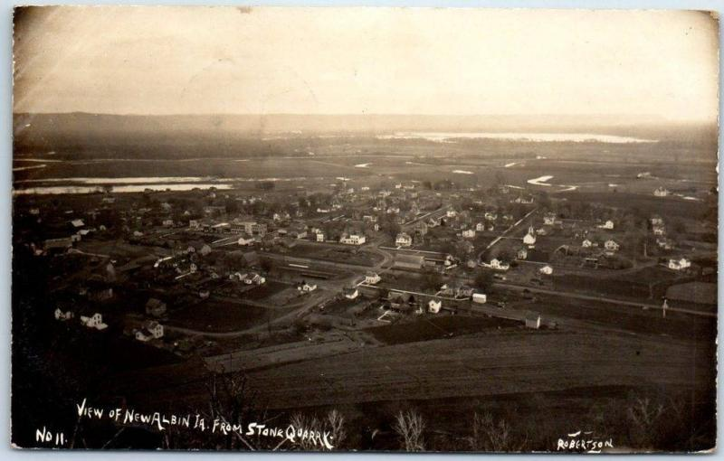 NEW ALBIN Iowa RPPC Postcard Bird's-Eye From Stone Quarry Robertson Photo 1907