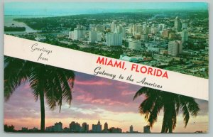 Miami Florida~Air View of City & Palm Skyline At Sunset~Vintage Postcard