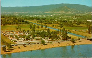 Skaha Beach & Okanagan Canal Penticton BC Birdseye Unused Vintage Postcard F93