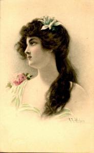 Brunette Lady, Green Dress. - Artist Signed: R.R. Wichera