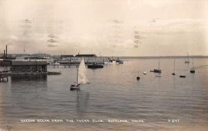 Rockland Maine Harbor Scene from the Yacht Club Real Photo Postcard J48811