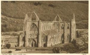 United Kingdom, Tintern Abbey from Chapel Hill, 1920s use...