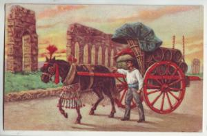 P1027 old card italy roma-carro da vino colorful horse and cart
