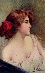 Lady with Red Flower in Hair     Artist: A. Asti