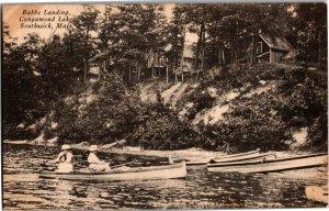 Women in Boat at Babbs Landing Congamond Lakes Southwick MA Vintage Postcard T19
