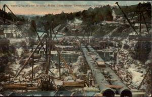 New York City Water Supply Main Dam Under Construction Catskills Postcard