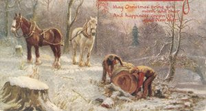 Horses. Men at work Tuck Oilette Holly Days Ser. PC # 9955