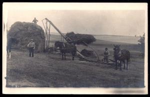 Hay Stack Horses Plow Equipment REAL PHOTO PC unused c1910's