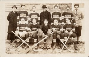 St. Ann's Hockey Team 1931 Nova Scotia Canada University Club RPPC Postcard G77