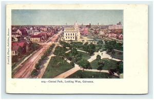 Postcard TX Galveston Airview Central Park Looking West Pre 1908 View G08