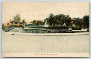 Kansas City Missouri~Paseo @ 9th Street~Fountain Plaza~Stone Steps~1907 Postcard