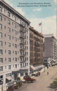 Oregon Portland Washington & Broadway Street Showing Imperial Hotel Curteich 412