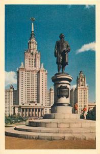 Russia Moscow monument to Lomonosov postcard