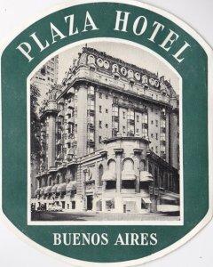 Argentina Buenos Aires Plaza Hotel Vintage Luggage Label sk1318