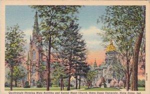 Quadrangle Showing Main Building And Sacred Heart Church Notre Dame Universit...