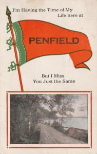 Having the Time of My Life in Penfield NY, New York - Pennant - pm 1914 - DB