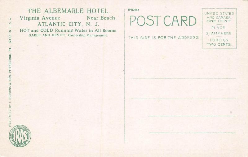 The Albemarle Hotel, Atlantic City, New Jersey, Early Postcard, Unused
