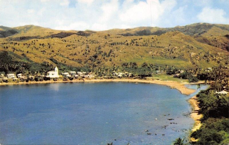 Umatac Village Guam~Umatac Bay Village~Waterfront Homes~Church~1960s Postcard