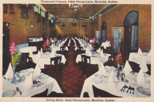 MONTREAL, Quebec, Canada, 1900-1910s; Dining Room, Hotel Pennsylvania