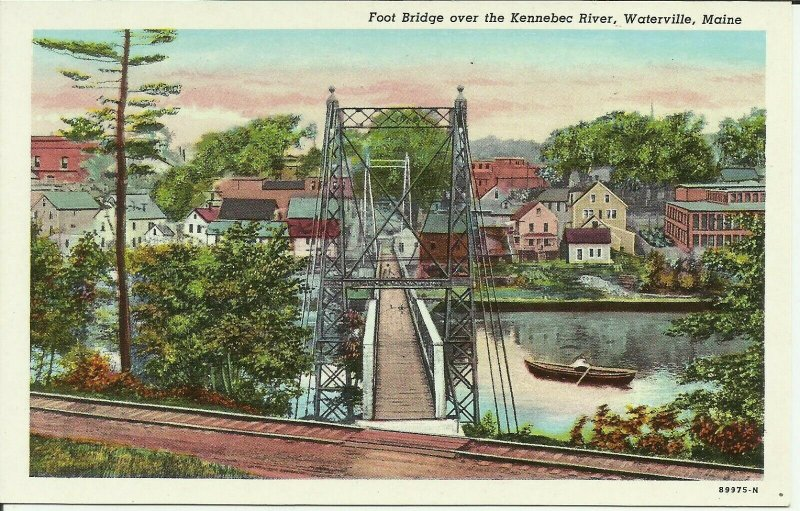 Footbridge Over The Kennebec River, Waterville, Maine