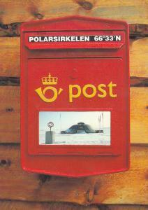 Arctic Circle Norway Mail Post Postman Pillar Box Postcard